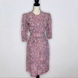 Vintage 80's Pink & Black Half Sleeve Dress (S)